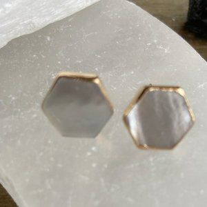 14K PLATED MOTHER OF PEARL HEXAGON STUDS